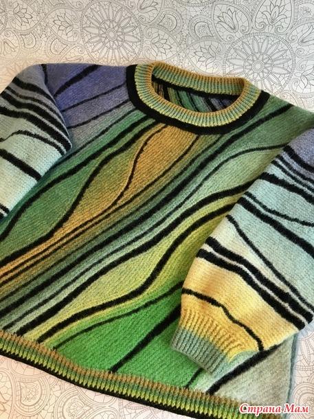 Описание свитера в технике «Свинг»