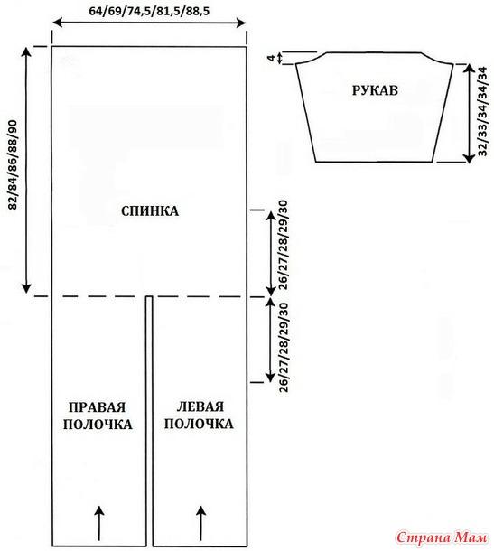 Кардиган с узором вертикальные косы (до 60-го размера). Спицы.