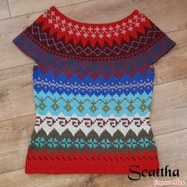 Жаккардовый пуловер крючком