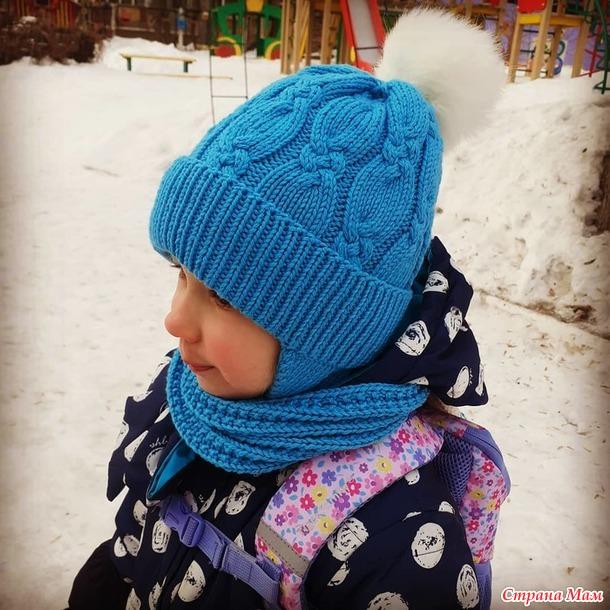 Зимний комплект для девочки (шапка+шарф) спицами
