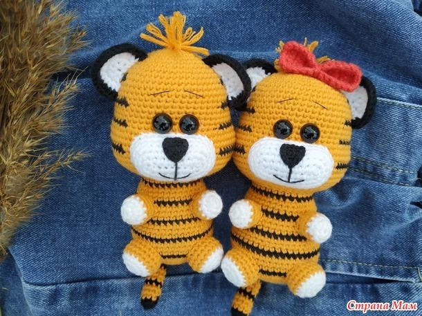 Вязаные тигрята, тигр амигуруми