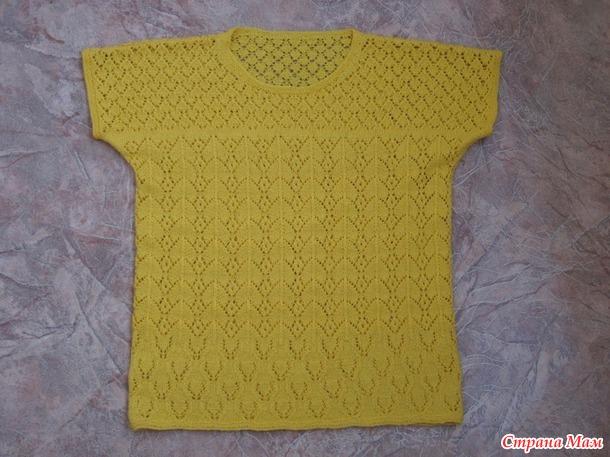 Желтая футболка внучке спицами