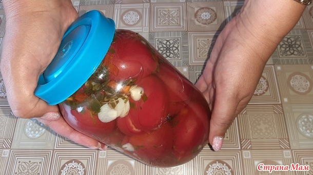 Малосольные помидоры, фаршированные зеленью, чесноком и перцем чили