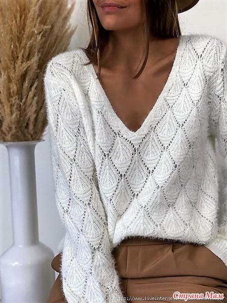 Супер красивый модный пуловер! Спицы. Видео МК.