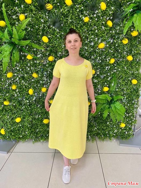 """Платье спицами """"Лимонное настроение"""". Мое платье в журнале"""
