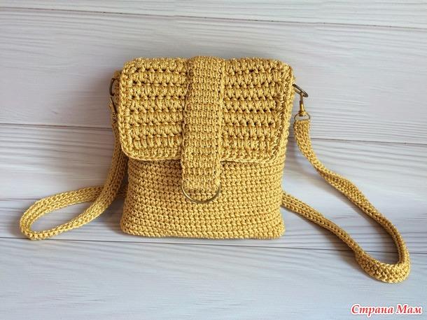 Маленькая сумка крючком через плечо из пряжи Yarnart macrame