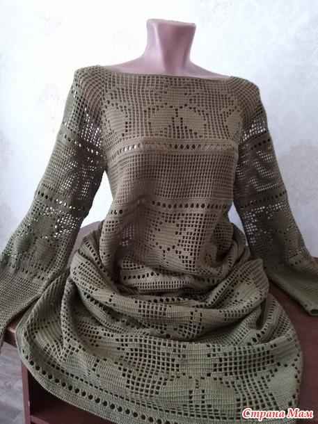 """Филейное платье """"Мухи"""". Продам."""