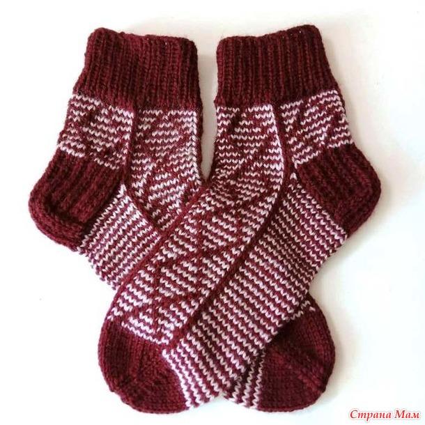 Женские носки ложным жаккардом Ромбы