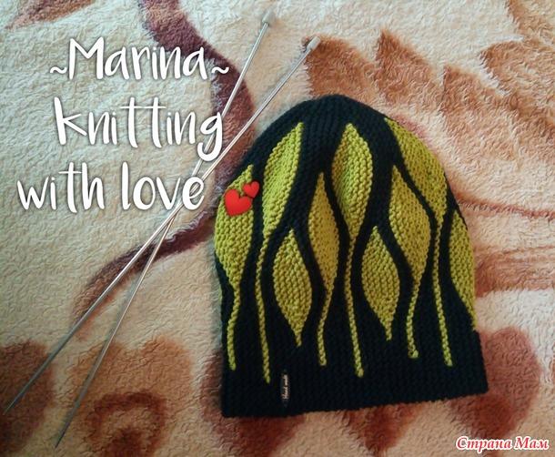 Шапка-бини с листьями