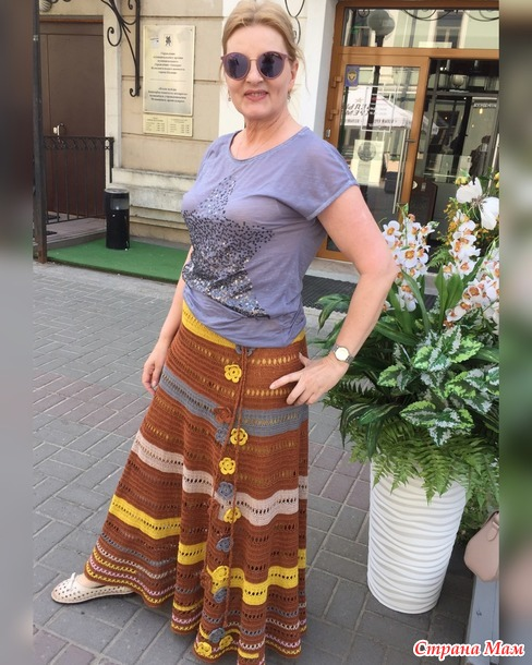 Летняя юбка крючком - Поля подсолнуха и гречихи