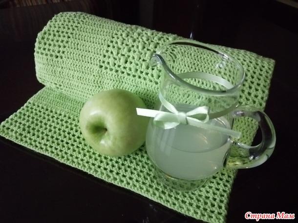 """Пледик детский """"Зеленое яблоко"""". Крючок"""